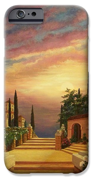 Yellow Ochre iPhone Cases - Patio il Tramonto or Patio at Sunset iPhone Case by Evie Cook