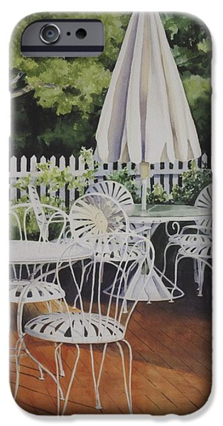 Patio Table And Chairs iPhone Cases - Patio Patterns iPhone Case by Sue Stephan Foster