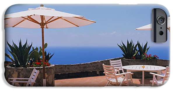 Patio Table And Chairs iPhone Cases - Patio Umbrellas In A Cafe, Positano iPhone Case by Panoramic Images