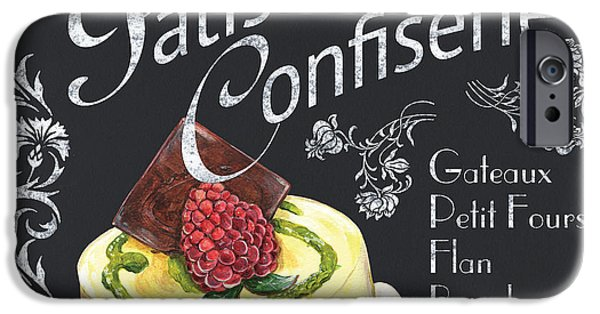 Graphic Design Paintings iPhone Cases - Patisserie and Confiserie iPhone Case by Debbie DeWitt
