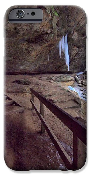 Water In Caves iPhone Cases - Pato To Ash Cave In Winter iPhone Case by Dan Sproul