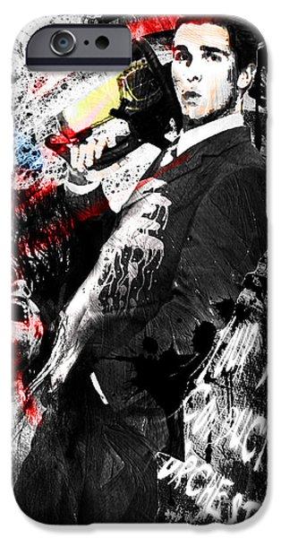 Bales Paintings iPhone Cases - Patrick Bateman - American Psycho iPhone Case by Ryan RockChromatic