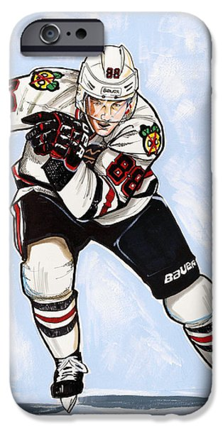 Hockey Drawings iPhone Cases - Patrick Kane of the Chicago Blackhawks iPhone Case by Dave Olsen