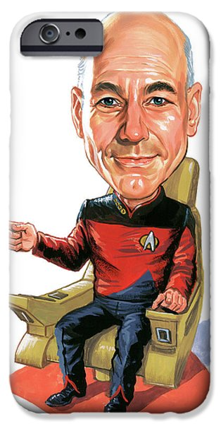 Science Paintings iPhone Cases - Patrick Stewart as Jean-Luc Picard iPhone Case by Art