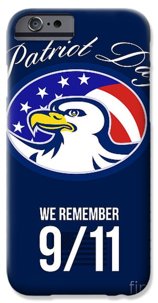 Patriots Day iPhone Cases - Patriot Day We remember 911 Poster Card iPhone Case by Aloysius Patrimonio