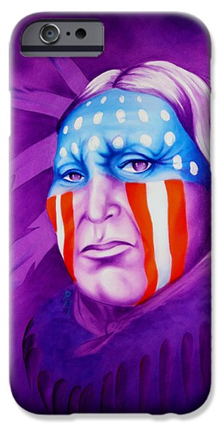 Old Glory Paintings iPhone Cases - Patriot iPhone Case by Robert Martinez