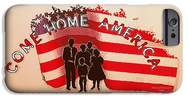 All American Drawings iPhone Cases - Patriotic America Greeting Card iPhone Case by Michael Shone SR