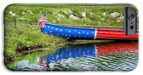 Canoe iPhone Cases - Patriotic Canoe #1 iPhone Case by Nikolyn McDonald