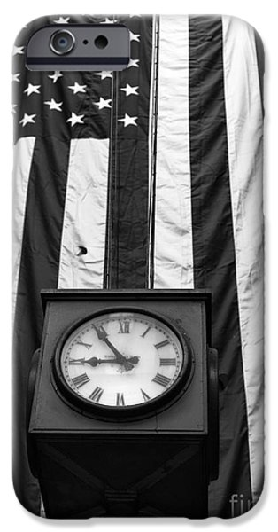 Old Glory iPhone Cases - Patriotic Clock mono iPhone Case by John Rizzuto
