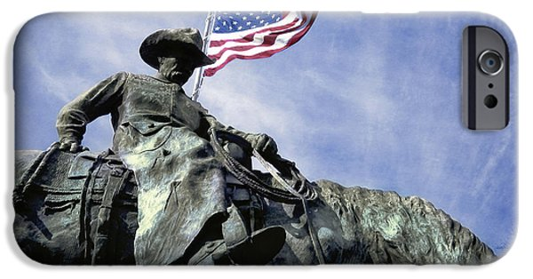 Old Glory iPhone Cases - Patriotic Cowboy iPhone Case by David and Carol Kelly