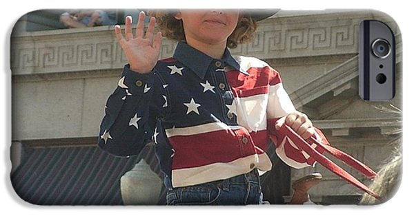 Prescott iPhone Cases - Patriotic cowgirl rider parade Prescott Arizona July 4th 2002 iPhone Case by David Lee Guss