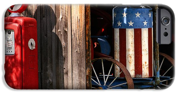 Old Barns iPhone Cases - Patriotic Farm Tractor iPhone Case by Timothy Flanigan