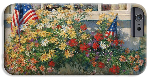 4th Of July Paintings iPhone Cases - Patriotic Flower Box iPhone Case by Sharon Will