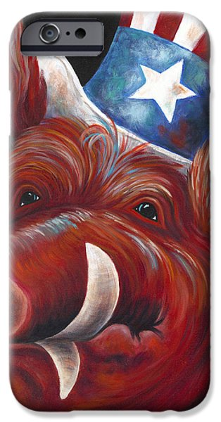 4th July Paintings iPhone Cases - Patriotic Hog Fan in Red iPhone Case by Shawna Elliott