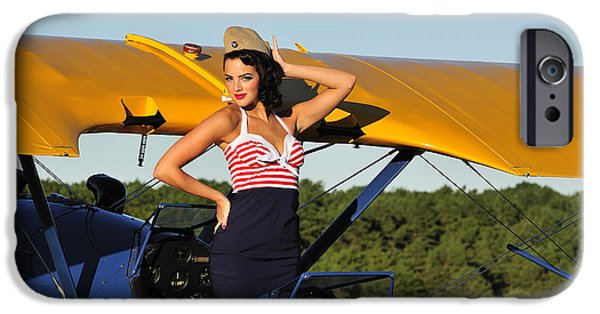 Hand On Head iPhone Cases - Patriotic Pin-up Girl Standing iPhone Case by Christian Kieffer