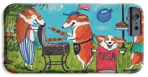 Patriots iPhone Cases - Patriotic Pups iPhone Case by Margaryta Yermolayeva