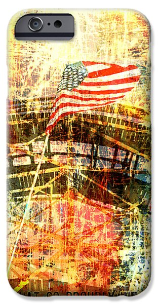 Brooklyn Bridge Mixed Media iPhone Cases - Patriotic Roller Coaster Collage iPhone Case by Anahi DeCanio - ArtyZen Studios