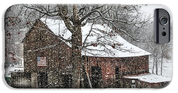 Red Barn In Winter iPhone Cases - Patriotic Tobacco Barn iPhone Case by Debbie Green