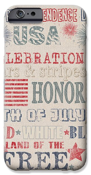 4th July Paintings iPhone Cases - Patriotic Typography-B iPhone Case by Jean Plout