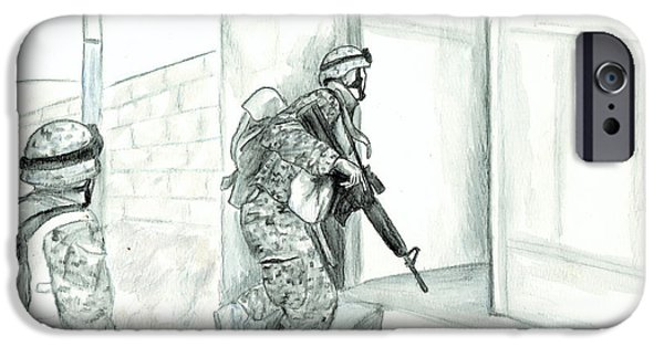Iraq Drawings iPhone Cases - Patrol iPhone Case by Annette Redman