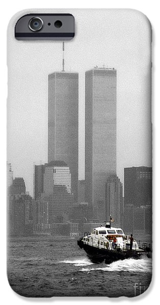 Twin Towers Nyc iPhone Cases - Patrolling The Hudson IBW iPhone Case by Earl Johnson