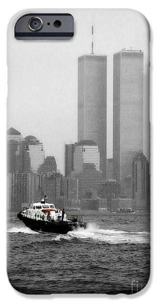 Twin Towers Nyc iPhone Cases - Patrolling The Hudson IIBW iPhone Case by Earl Johnson
