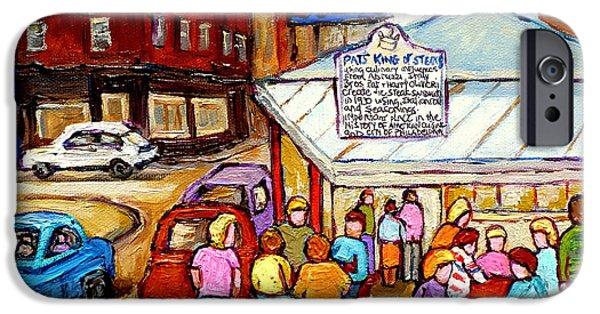 Phillies Paintings iPhone Cases - Pats King Of Steaks Philadelphia Restaurant South Philly Italian Market Scenes Carole Spandau iPhone Case by Carole Spandau
