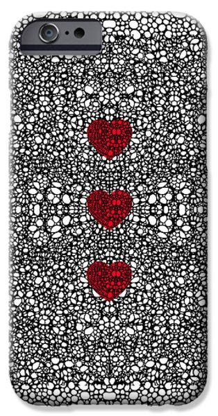 Ultra Modern iPhone Cases - Pattern 34 - Heart Art - Black And White Exquisite Patterns By Sharon Cummings iPhone Case by Sharon Cummings