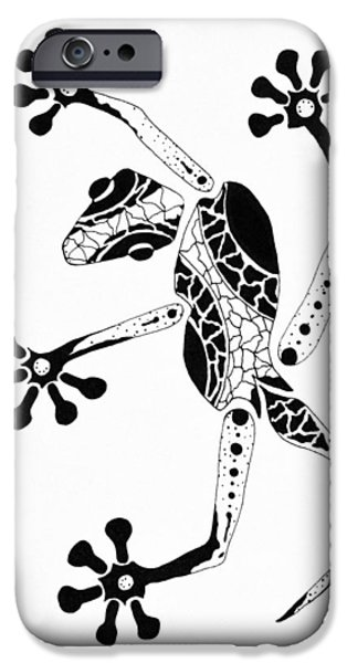 Metallic Print Drawings iPhone Cases - Patterned Gecko iPhone Case by Doug Chambers