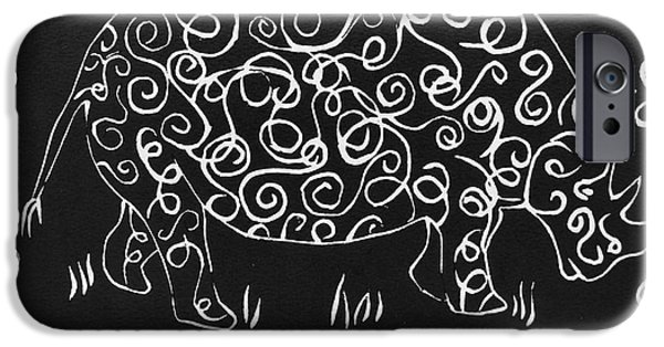 Animal Reliefs iPhone Cases - Patterned Rhino iPhone Case by Caroline Street