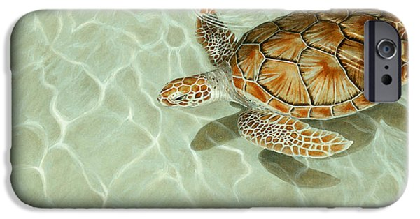 Ocean Turtle Paintings iPhone Cases - Patterns in Motion - Portrait of a Sea Turtle iPhone Case by Rob Dreyer AFC
