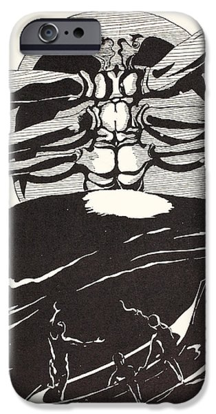 Pau Amma the Crab rising out of the sea as tall as the smoke of three volcanoes iPhone Case by Joseph Rudyard Kipling