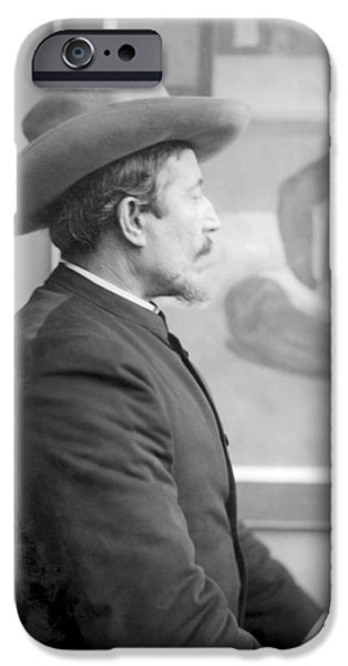 Working Artist iPhone Cases - Paul Gauguin 1848-1903 In Front Of His Canvases, C.1893 Bw Photo iPhone Case by French Photographer