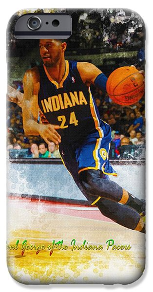 Allstar iPhone Cases - Paul George of the Indiana Pacers  iPhone Case by Don Kuing