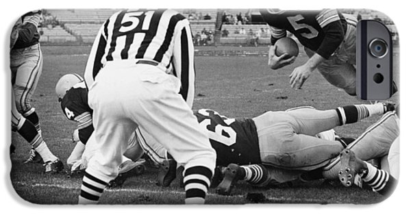 American League iPhone Cases - Paul Hornung Touchdown iPhone Case by Gianfranco Weiss