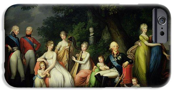 Duchess iPhone Cases - Paul I 1754-1801, Maria Feodorovna 1759-1828 And Their Children, C.1800 Oil On Canvas iPhone Case by Franz Gerhard von Kugelgen