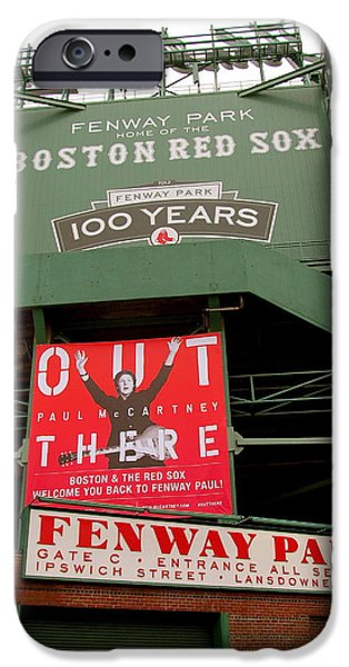 Red Sox Paintings iPhone Cases - Paul McCartney at Fenway Park iPhone Case by Melinda Saminski