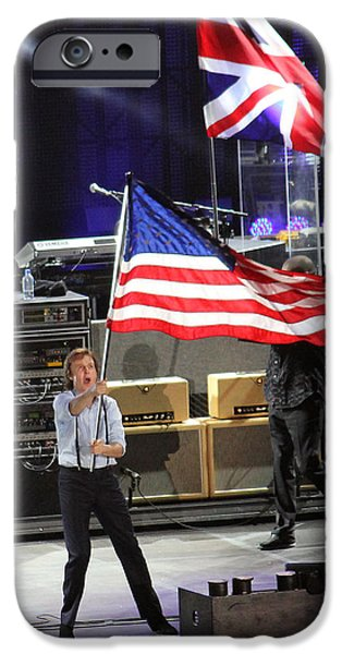 Wrigley Field iPhone Cases - Paul McCartney at Wrigley Field iPhone Case by Martin Konopacki