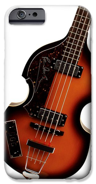 Hofner iPhone Cases - Paul McCartney Hofner Bass  iPhone Case by Bill Cannon