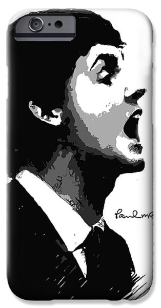 Beatles Digital iPhone Cases - Paul McCartney No.01 iPhone Case by Caio Caldas