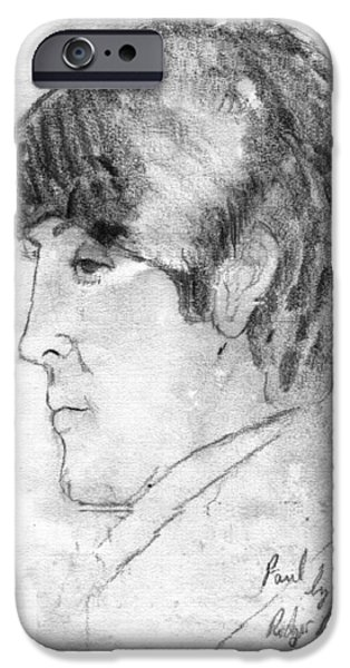 Mccartney Drawings iPhone Cases - Paul McCartney Profile iPhone Case by Rodger Larson
