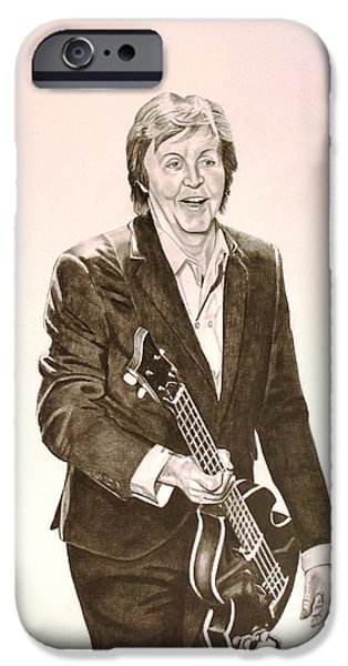Mccartney Drawings iPhone Cases - Paul McCartney iPhone Case by Randy Mitchell