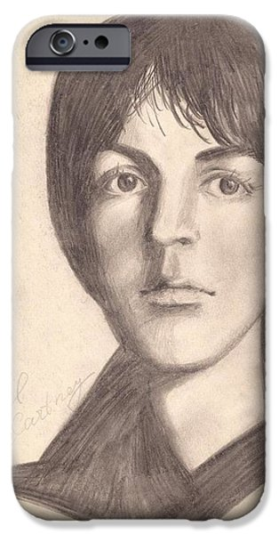Mccartney Drawings iPhone Cases - Paul McCartney iPhone Case by Yulia Andreeva