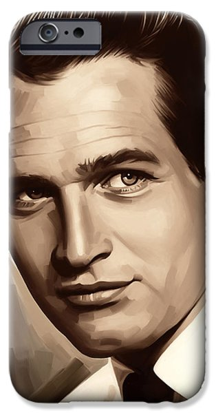 Celebrities Art iPhone Cases - Paul Newman Artwork 1 iPhone Case by Sheraz A