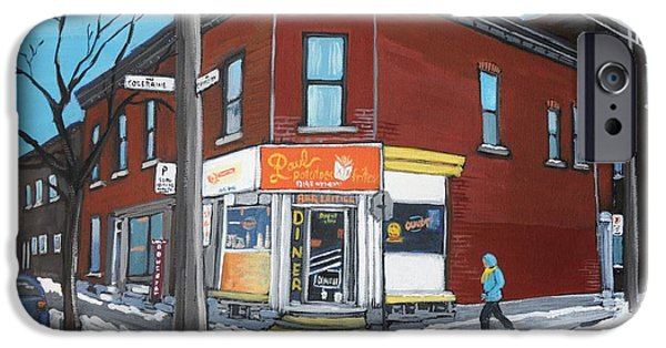 Streets Of Montreal iPhone Cases - Paul Patate Pte St Charles iPhone Case by Reb Frost