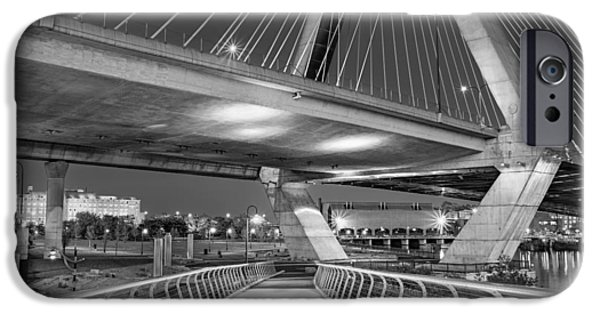 Recently Sold -  - Boston iPhone Cases - Paul Revere Park And The Zakim Bridge BW iPhone Case by Susan Candelario