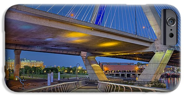 Charles River iPhone Cases - Paul Revere Park And The Zakim Bridge iPhone Case by Susan Candelario