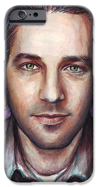 Painted Mixed Media iPhone Cases - Paul Rudd Portrait iPhone Case by Olga Shvartsur