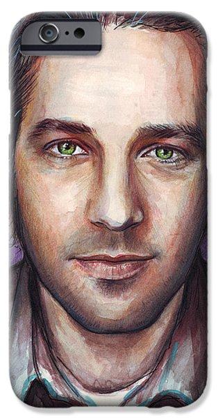 Paul Rudd Portrait iPhone Case by Olga Shvartsur