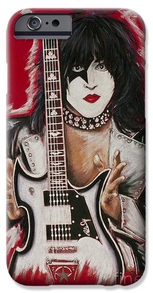 Rocks Drawings iPhone Cases - Paul Stanley iPhone Case by Melanie D